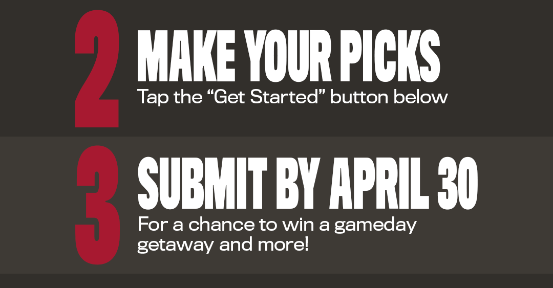 2 make your picks - tap the get started button below - 3 submit by april 30 for a chance to win a gameday getaway and more!